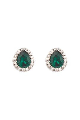 Emerald Pear Stud Earrings by Ciner