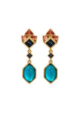 Dusky Tile Drop Earrings by Oscar de la Renta