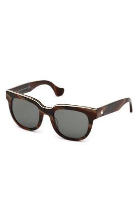Burgundy Horn Effect Sunglasses by Balenciaga Accessories