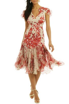 ZAC Zac Posen - Hibiscus Print Silk Dress