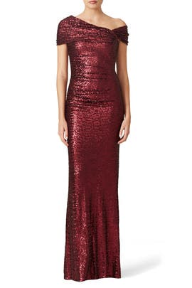 Badgley Mischka - Bordeaux Samantha Gown