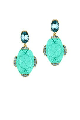 Aqua Resin Crystal Earrings by Oscar de la Renta