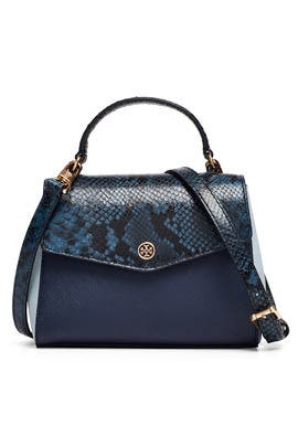 Navy Robinson Top Handle Bag by Tory Burch Accessories