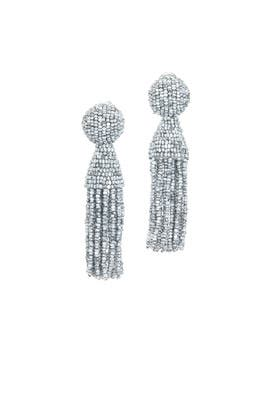 Silver Short Tassel Earrings by Oscar de la Renta