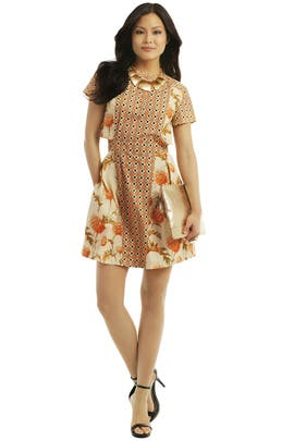 Suno - Orange Stamp It Dress