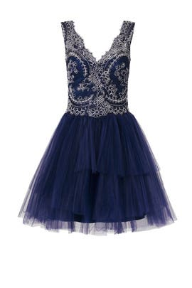 Navy Natalie Dress by Marchesa Notte