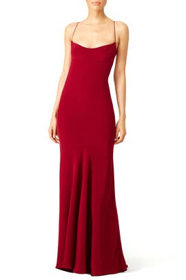 Crimson Silk Chemise Gown by Narciso Rodriguez