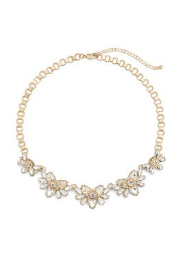Gold Crystal Flower Necklace by Slate & Willow Accessories
