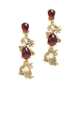 Bordeaux Filigree Earrings by Oscar de la Renta