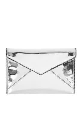 Silver Patent Leo Clutch by Rebecca Minkoff Handbags