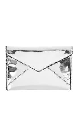 Silver Patent Leo Clutch by Rebecca Minkoff Accessories