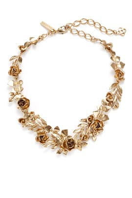 Rose and Leaf Gold Vine Necklace by Oscar de la Renta