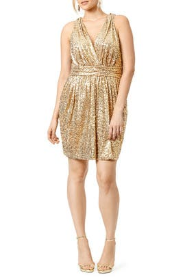 Badgley Mischka - Draped in Gold Dress