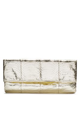 Gold Metallic Foldover Clutch by Via Spiga