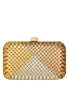 Gold Colorblock Minaudiere by Whiting & Davis