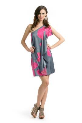 Halston Heritage - Magenta Floral Drape Dress