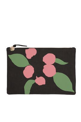 Pink Floral Flat Maison Canvas Clutch by Clare V.