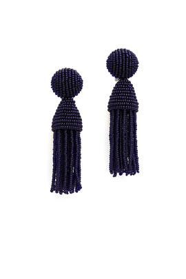 Midnight Short Tassel Earrings by Oscar de la Renta