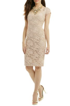 Mocha Lace Sheath by Reem Acra