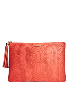 Salmon Uber Python Clutch by Gigi New York