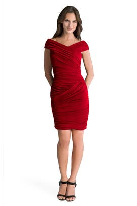 Nicole Miller - Red Butterfly Ruched Dress
