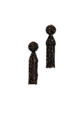 Golden Black Short Tassel Earrings by Oscar de la Renta