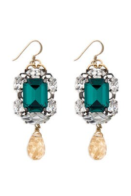 Anton Heunis - Entrapping Emerald Stone Drop Earrings