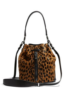 Leopard Haircalf Cynnie Mini Bucket by Elizabeth and James Accessories