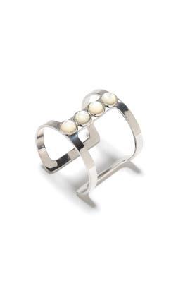 Silver Pebble Cuff by Lizzie Fortunato
