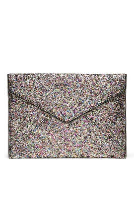 Silver Multi Glitter Leo Clutch by Rebecca Minkoff Handbags