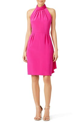 Fuchsia Ruffle Halter Dress by Carmen Marc Valvo