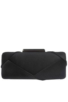 Black Pleated Satin Minaudiere by Sondra Roberts