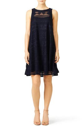 Navy Embroidered Lace Shift by Slate & Willow