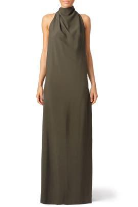 Olive Green Chignon Gown