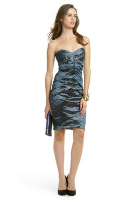 Nicole Miller - Teal Metallic Pintuck Dress