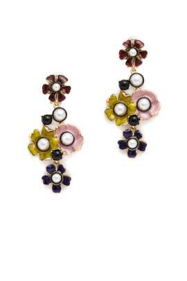 Floral Pearl Multicolor Earrings by Oscar de la Renta