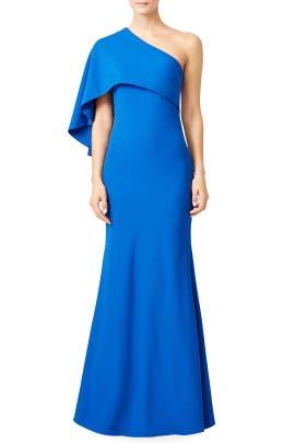 Royal Blue Cape Gown by Mignon