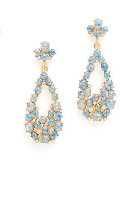 Opal Cluster Teardrop Earrings by Kenneth Jay Lane