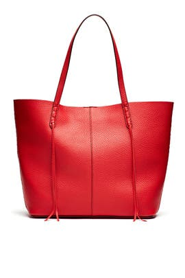 Blood Orange Medium Unlined Whipstitch Tote by Rebecca Minkoff Handbags
