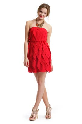 ADAM - Red Ripple Effect Dress