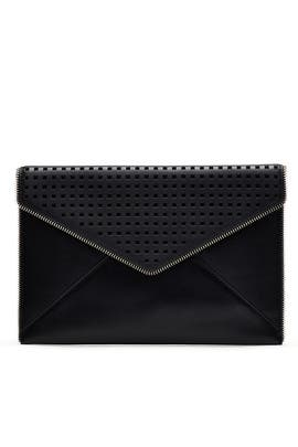 Black Perforated Leo Clutch by Rebecca Minkoff Handbags