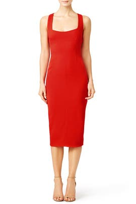 Red Open Back Dress by Narciso Rodriguez