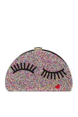 Glitter Eyelash Half Moon Clutch by Milly Handbags