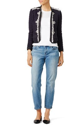 Navy Lana Tweed Jacket by Rebecca Taylor