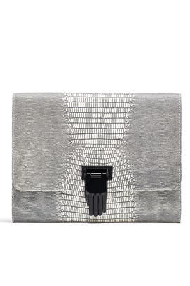Lizard Embossed Nokki Clutch by Opening Ceremony Accessories