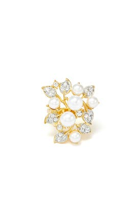 Pearl Floral Ring by Kenneth Jay Lane
