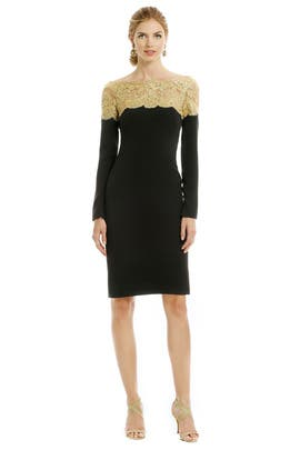 Golden Lace Locket Dress by Reem Acra