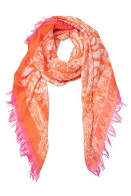 Coral Zebra Fringe Scarf by Echo Accessories