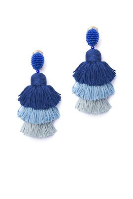 Blue Tiered Tassel Earrings by Oscar de la Renta