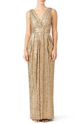 Gold Glitz Gown by Badgley Mischka
